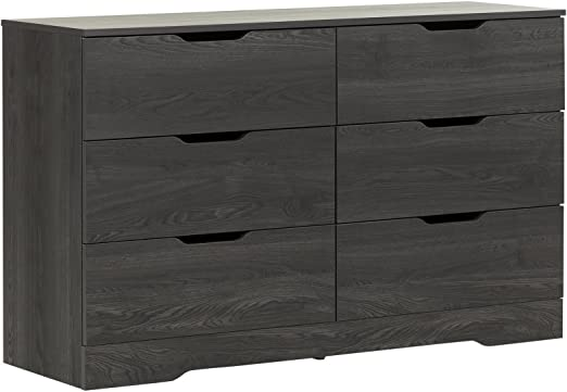 Pure Black South Shore Holland 6-Drawer Double Dresser
