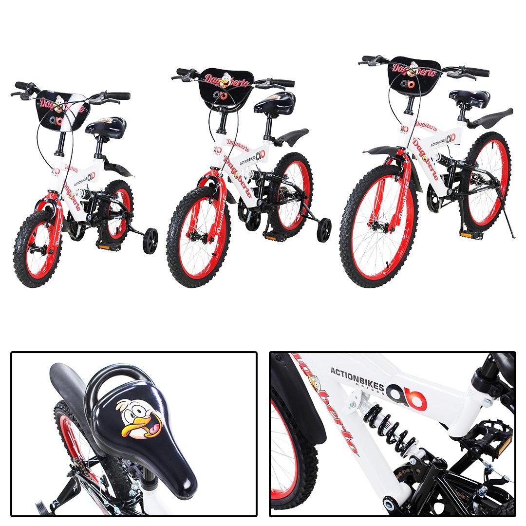 Actionbikes Kinderfahrrad Dagoberto ab 3 Jahren 12 16 20 Zoll Rot Weiß Kinder Mädchen Jungen Fahrrad