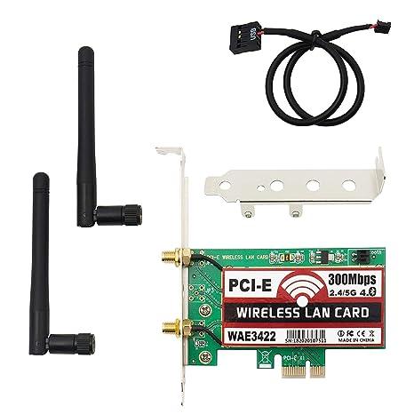 Velidy Tarjeta Interna de Red, Bluetooth 4.0 300 Mbps Wireless Dual Band 2.4G/5G PCI Express Adaptador de Red inalámbrica Tarjeta con 64/128 bits ...