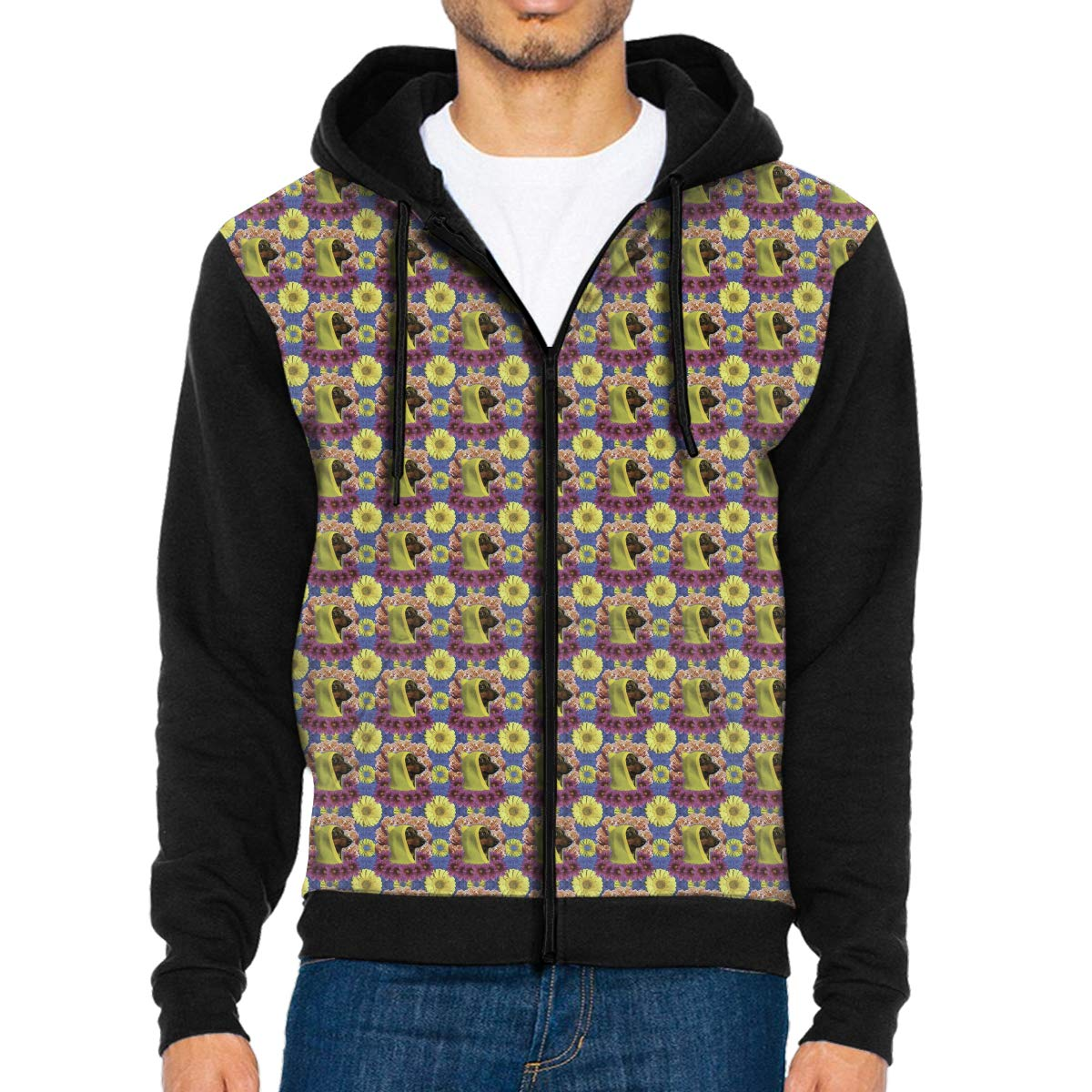 WEIPING LF Mens The Dog in A Hat Hooded Sweatshirt