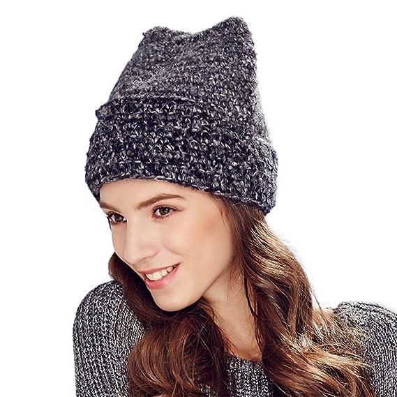 Women s Winter Knitted Hat Cute Cat Ears Shape Beanie Ski Cap Warm Roll  Brim Alpaca Wool dc06267b7176
