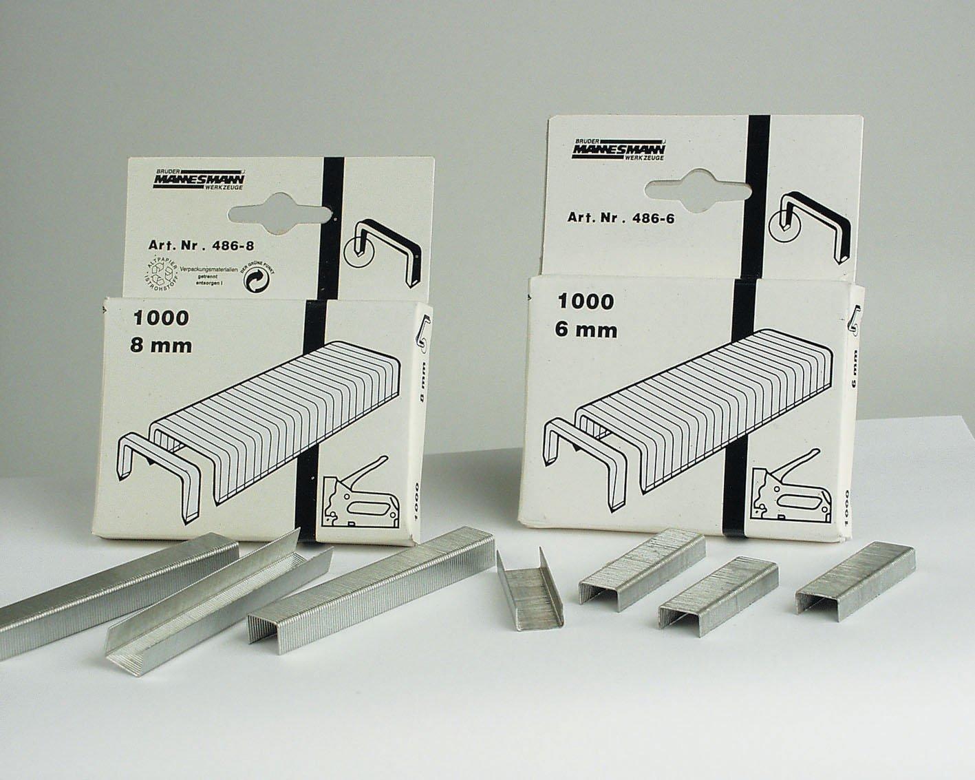 Brü der Mannesmann M 486– 08 de rechange pour m483 et m484, 1000 agrafes, 1 V, 8 mm 1000agrafes 1V 8mm Brüder Mannesmann Werkzeuge GmbH M 486-08
