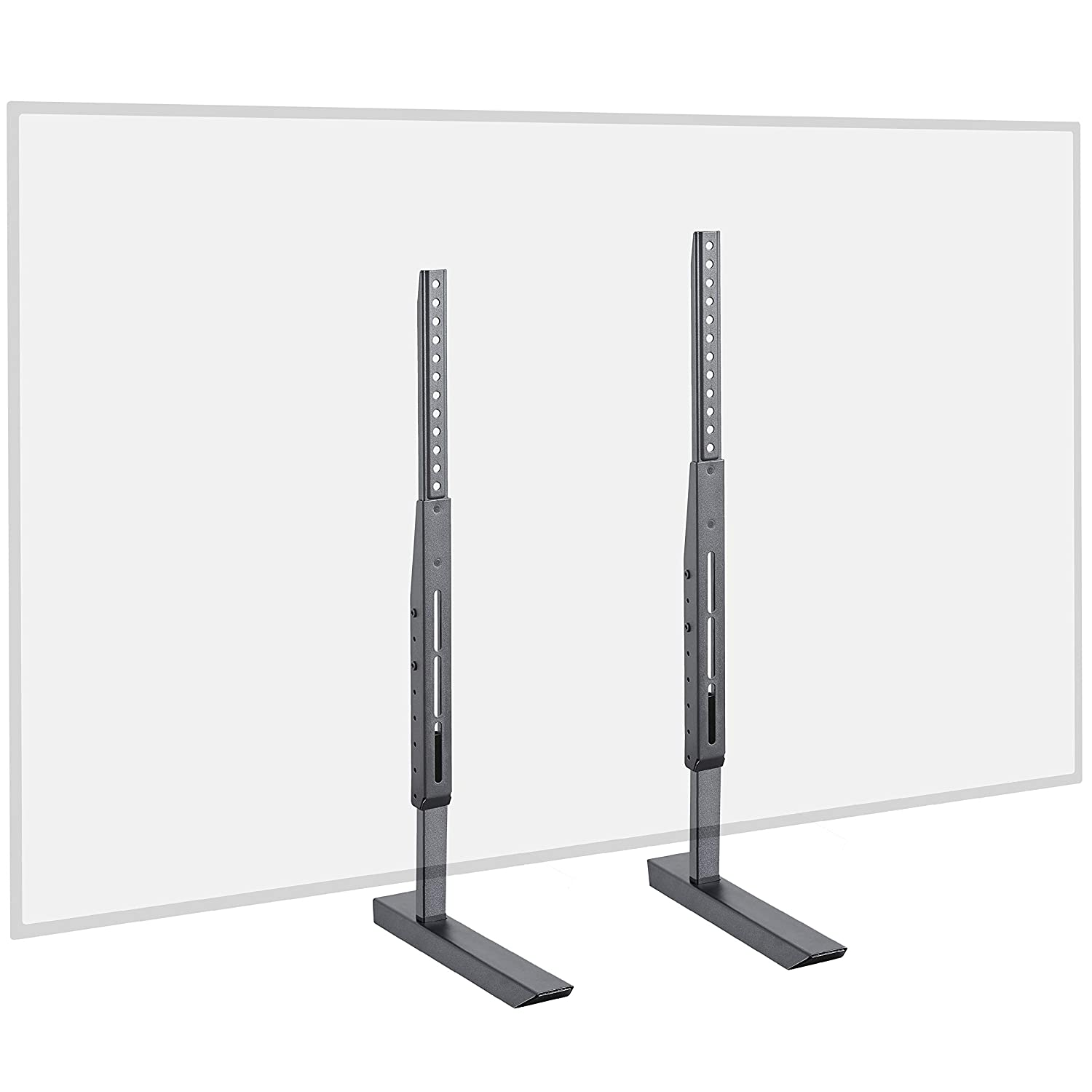 """Echogear Universal TV Stand - Height Adjustable Base For TVs Up to 77"""" - Wobble-Free Replacement Stand Works With Any TV Including Vizio, TCL, Samsung & More - Flat Design Is Compatible With Soundbars"""