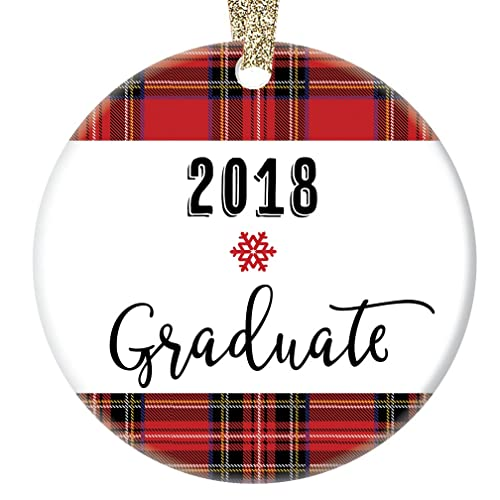 9e17e659210 2018 Graduate Ornament, Red Plaid Graduation Gift, Porcelain Ceramic  Ornament, 3