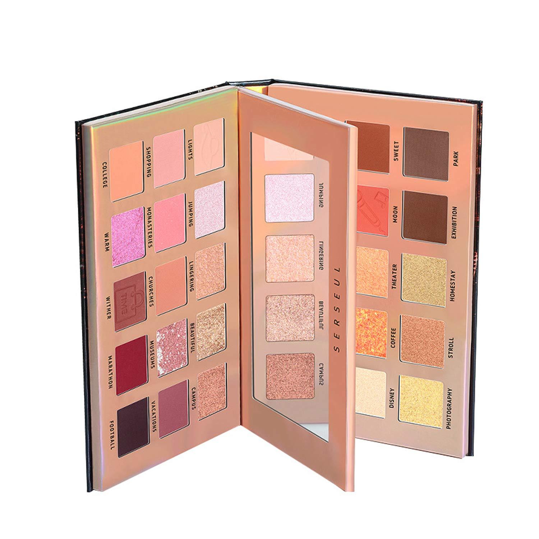 Serseul Colorful Eyeshadow 30 Color Eye shadow Palette Makeup Glitter Pearlescent Long Lasting Waterproof Golden Brown Daily Makeup Eyeshadow Palette
