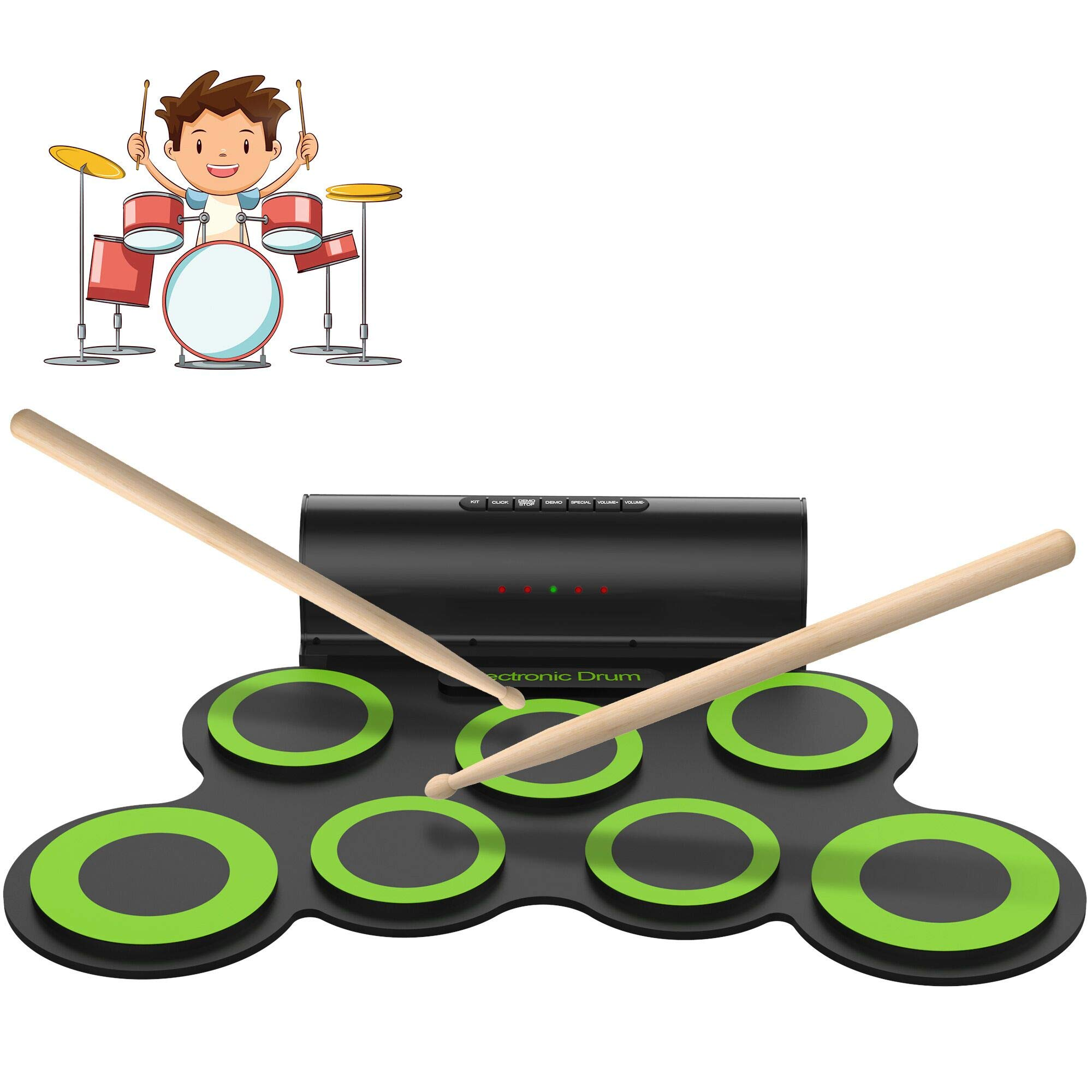 ORASANT Electric Drum Set, Roll Up Electronic Drum Set for Kids, Rechargeable Drum Pad Starter Practice Kit Allows Built-in Speaker and Headphone, Great Gift for Kids, Teens and Adults by ORASANT