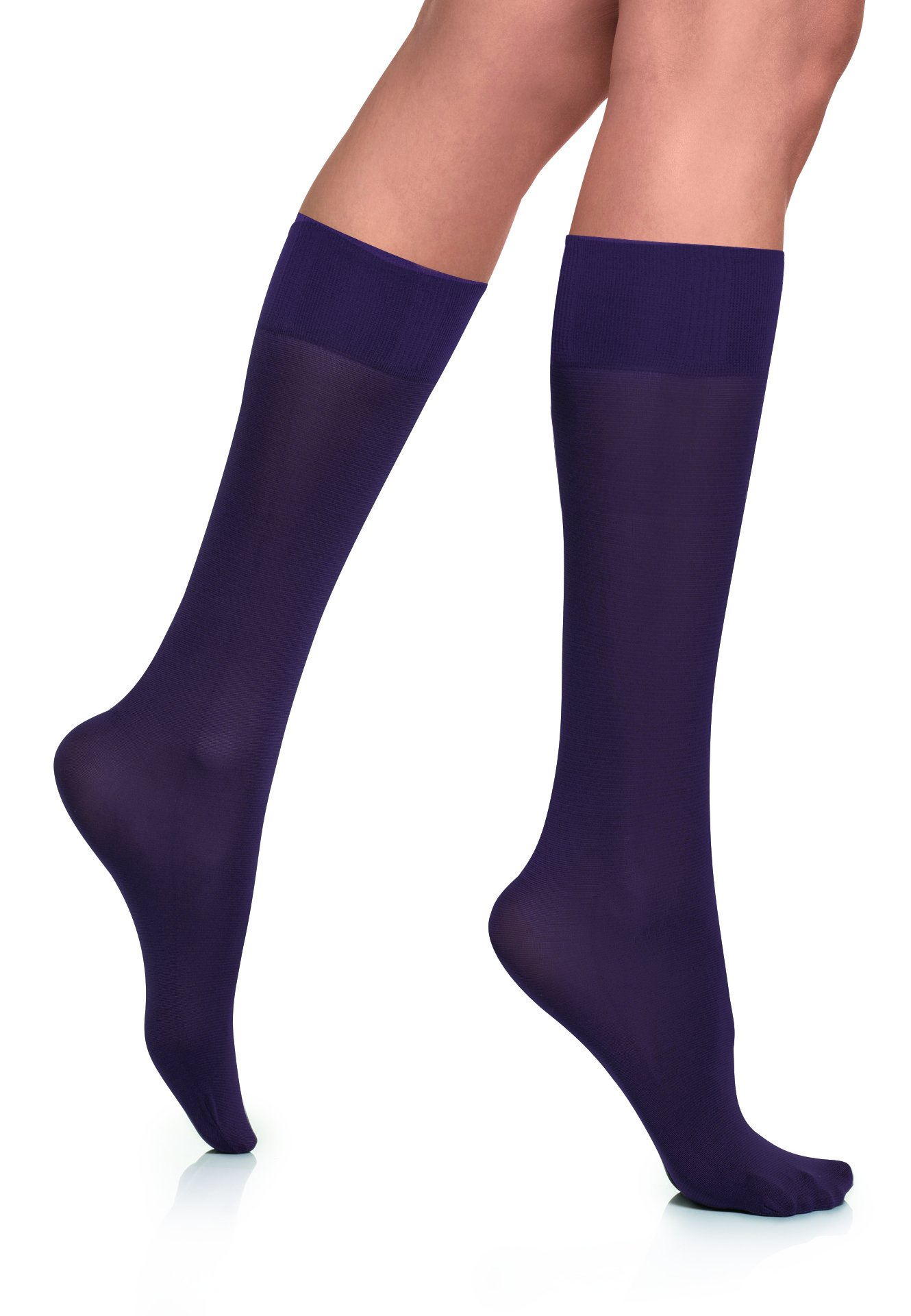 Lupo Loba Women's Comfort Top Opaque Knee High Socks, One-Size Eggplant 2 Pack