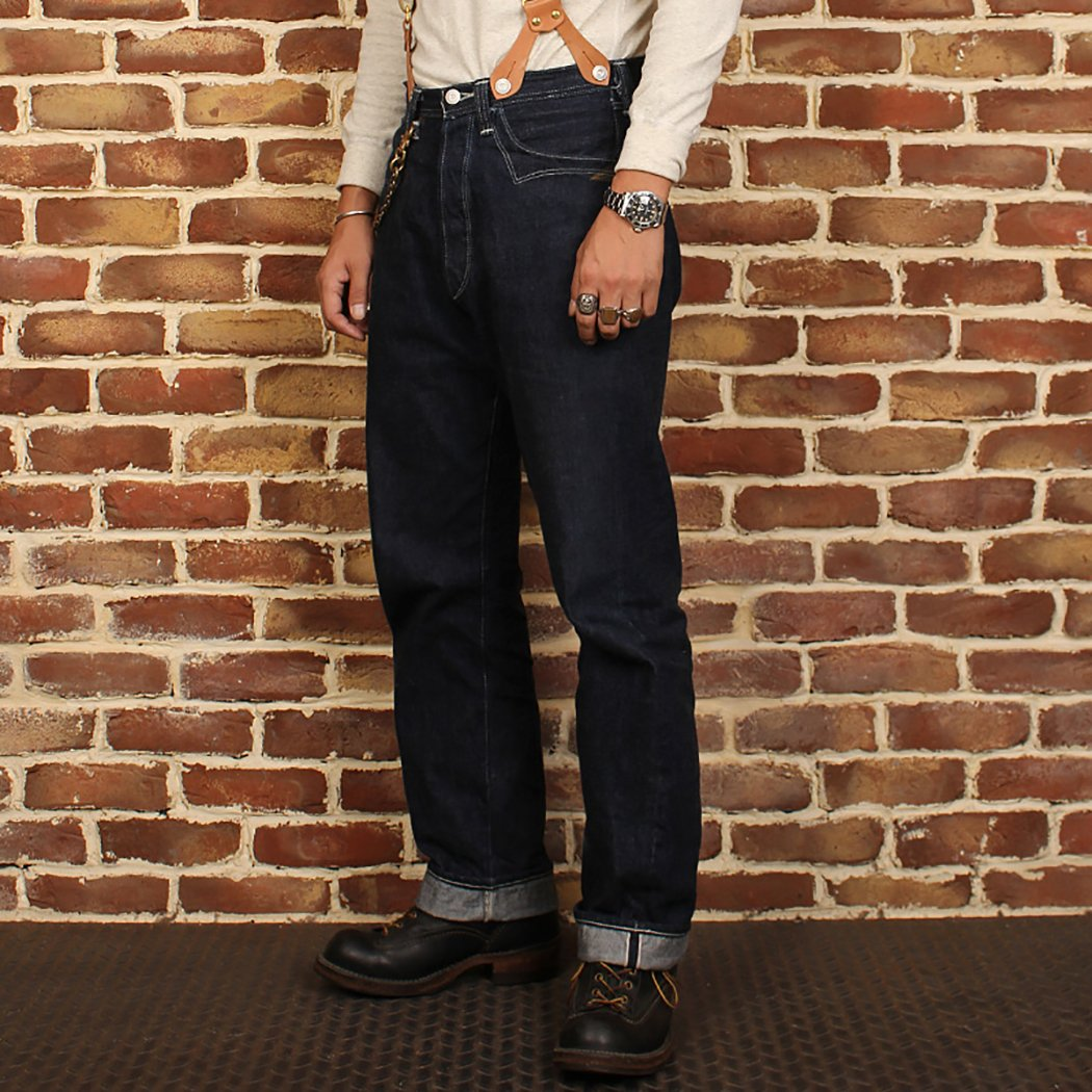 Men's Vintage Workwear – 1920s, 1930s, 1940s, 1950s Bronson Lot 877 Nevada Gold Rush Baggy Single Bag Unbleached Red Ear Tannin Denim Jeans (30) $149.99 AT vintagedancer.com