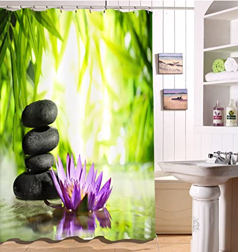 LB Jardín zen Decoración de spa Cortina de la ducha,Impermeable Resistente al moho Tejido de