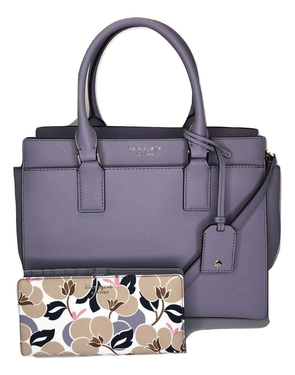 Kate Spade New York Cameron Medium Satchel WKRU5851 bundled with matching Wallet WLRU5418 (Icy Lavender/Breezy Floral)