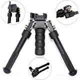 Twod Rifle Bipod CNC QD 6.5-9 inch Adjustable Spring Return Bipod with Quick Release Adapter, Rubber Feet, Black