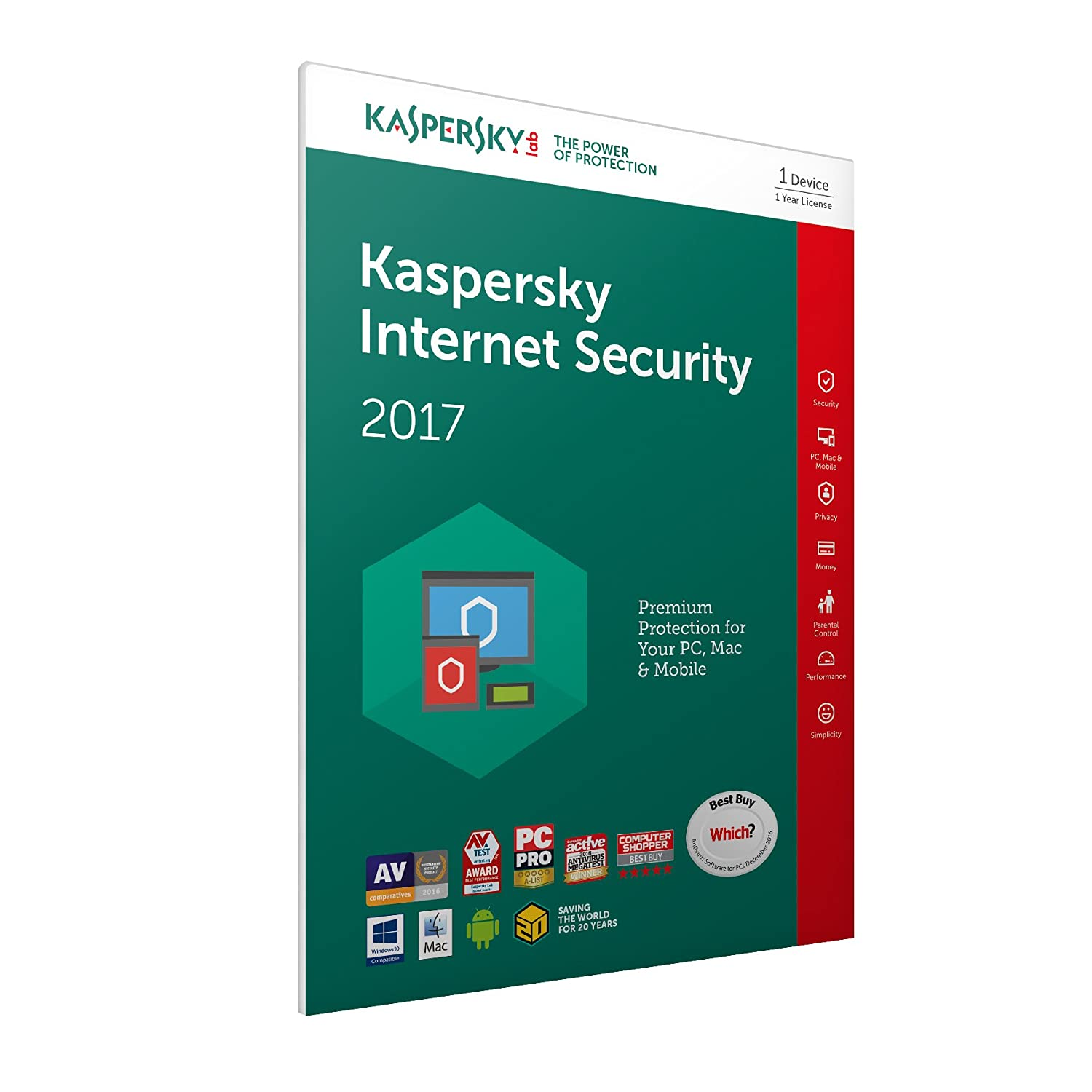 Kaspersky Internet Security 2017 | 1 Device | 1 Year | PC/Mac ...