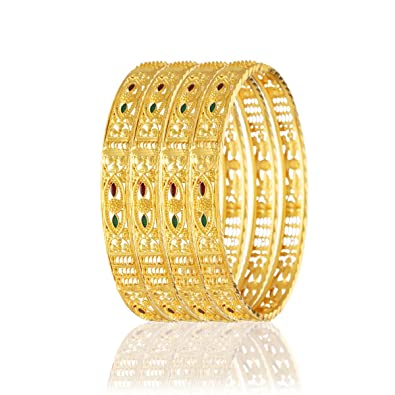 1fa95898d Buy Variation Set of 4 Gold Plated South Indian Bangles for Women - VD18048  (2.8) Online at Low Prices in India | Amazon Jewellery Store - Amazon.in
