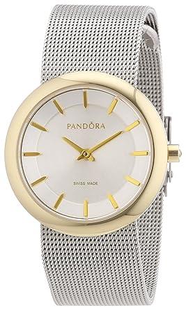 Pandora 812014WH - Reloj analógico de mujer de cuarzo con correa de acero inoxidable plateada: Amazon.es: Relojes