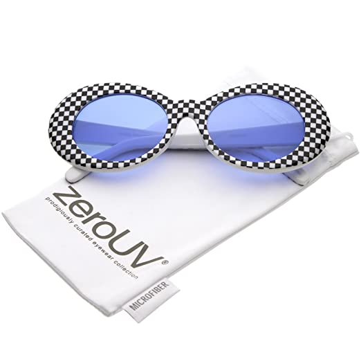 8a66b3c74f zeroUV - Large Retro Thick Checkered Frame Colored Lens Wide Arms Oval  Sunglasses 53mm (Checkered