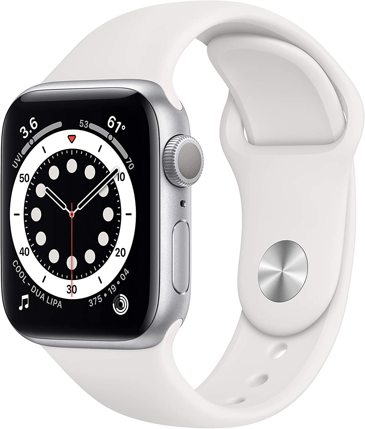 New Apple Watch Series 6 (GPS, 40mm) - Silver Aluminum Case with White Sport Band (Renewed)