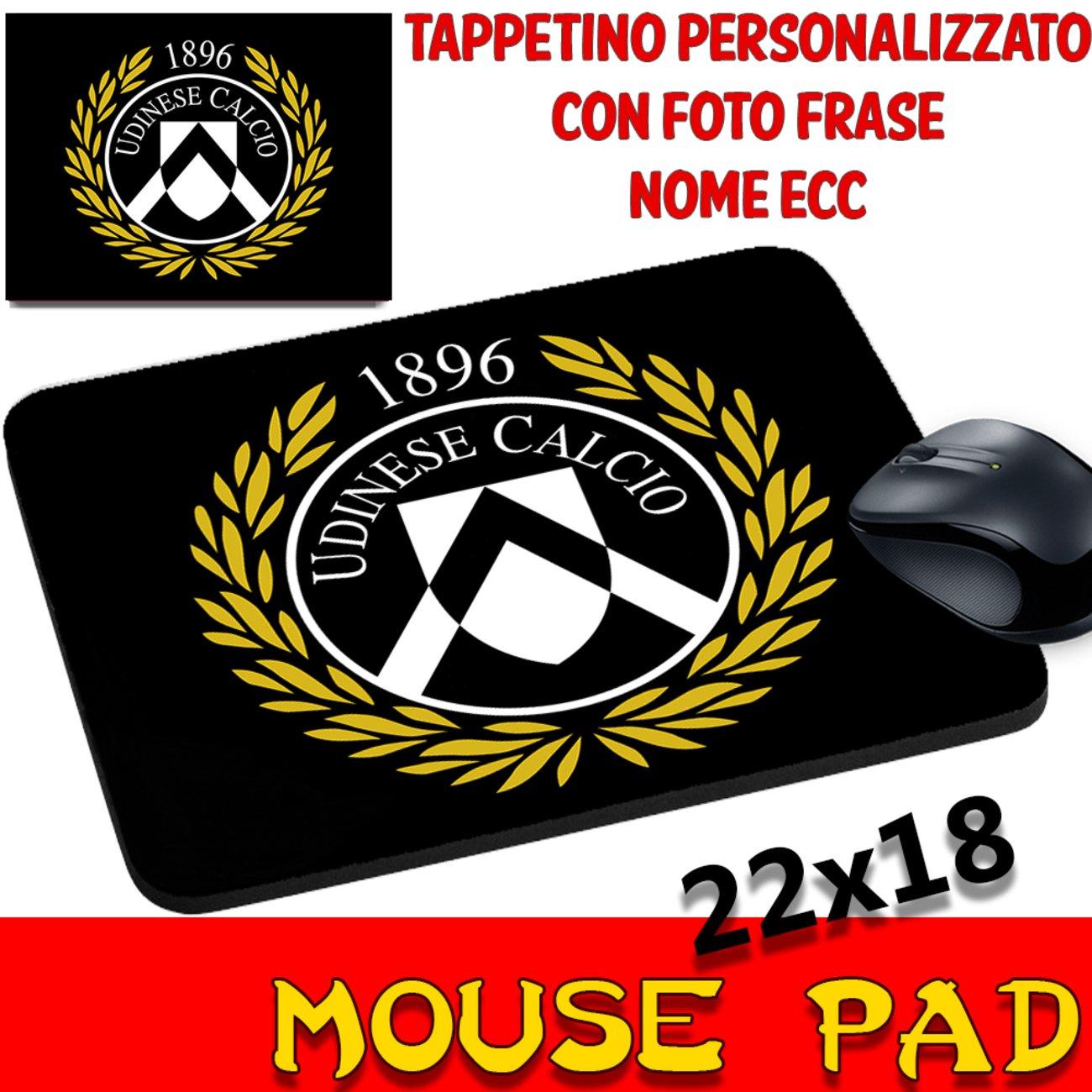 Tappetino mouse Pad Personalizzato Squadre Calcio Udinese Calcio Bianco Nero Stemma Logo foto csm Informatica