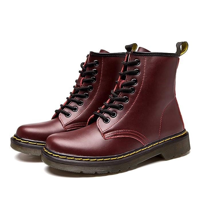 Donna Pelle Moda Caviglia Stivali Inverno Classici Stivaletti Uomo Impermeabile Stringate Boot,Vino Rosso,42 EULabel 2651.5