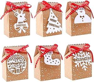 24PCS Bulk Christmas Goodies Bags,Kraft Holiday Gift Bags Christmas Gift Bags with Tags Snowflake Ribbons for Christmas Black Friday Party Supplies