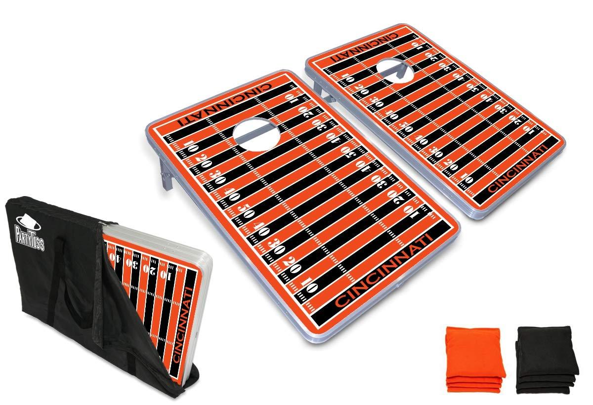 PartyPongTables.com シンシナティ フットボール 3フィート x 2フィート アルミニウム コーンホールゲームセット - LEDライト- 頑丈なアルミニウムフレーム - 厚いボード面 B07HD1ZWPB