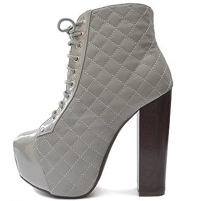 4b64420f7f25a1 Vain Secrets Damen Plateau Boots Stiefeletten gesteppt mit Absatz in  Holzabsatz (35