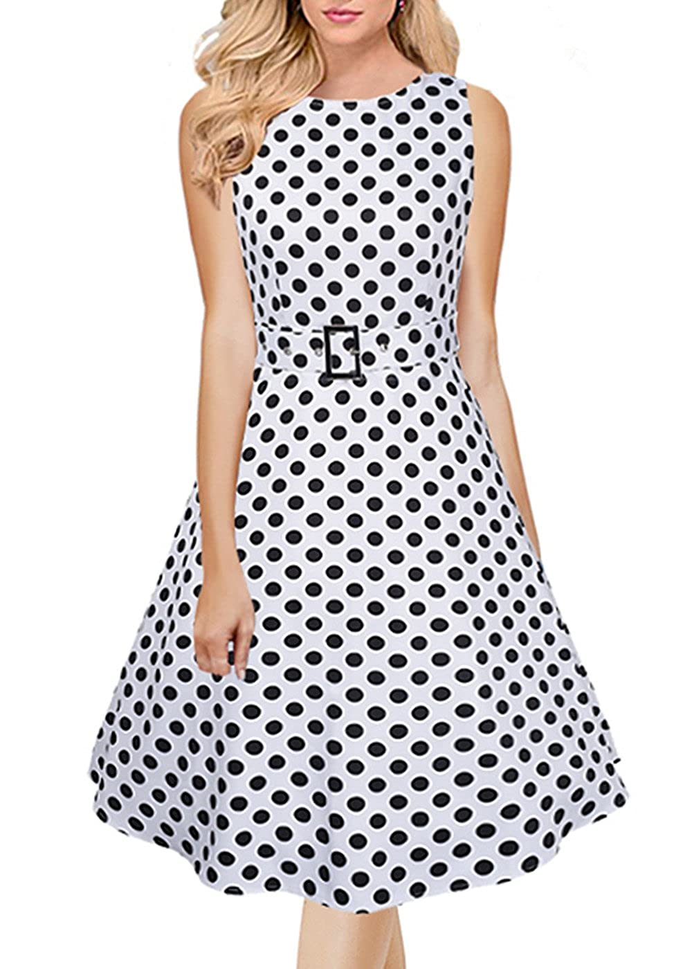 5c416d0b4dc04 Women Vintage 1950s Spring Garden Party Dress for Women Sleeveless ...