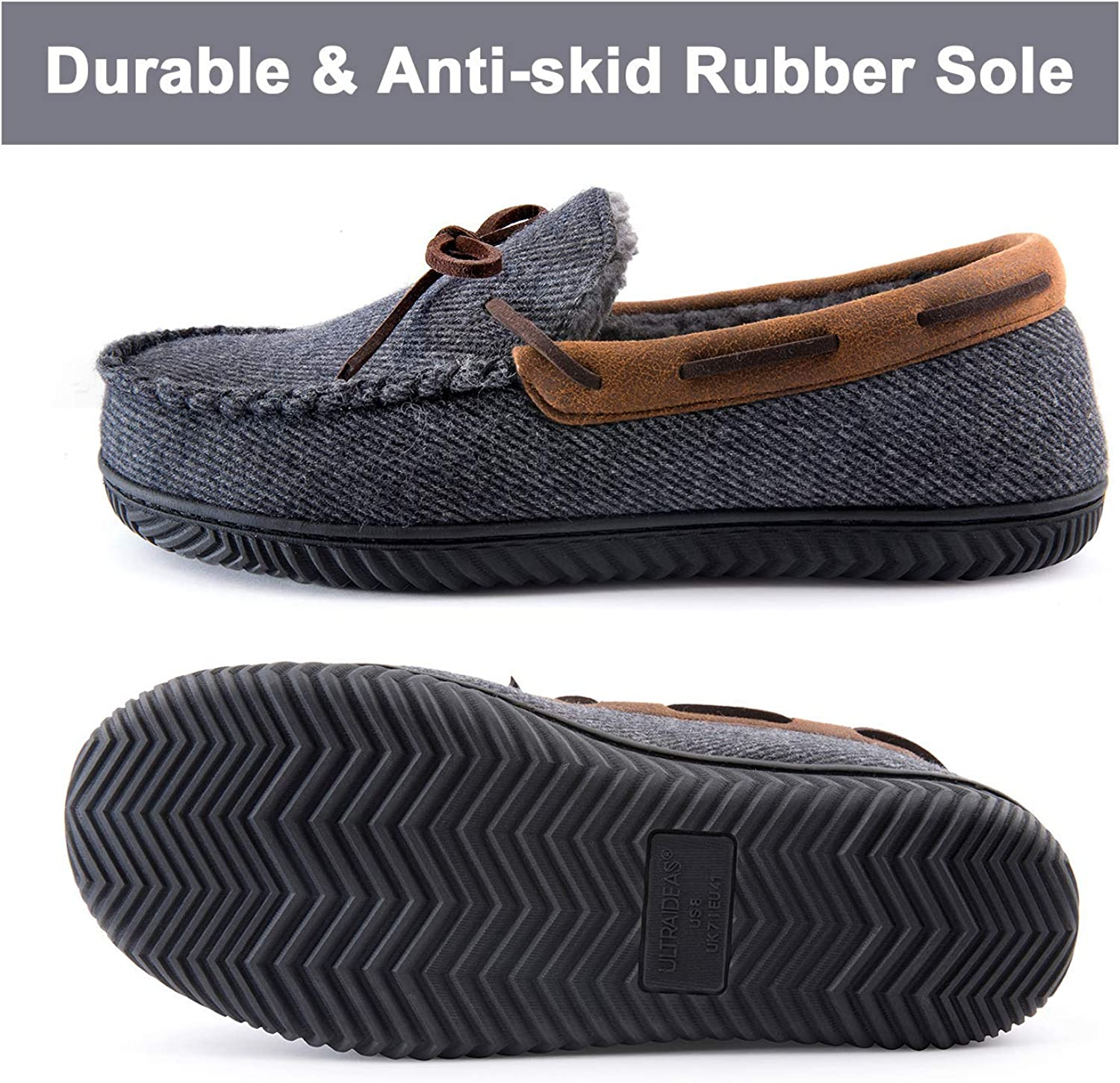 ULTRAIDEAS Men/'s Comfort Moccasin Slippers Memory Foam House Shoes with Anti-Skid Rubber Sole Indoor//Outdoor