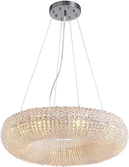 SILJOY Modern Luxury Crystal Chandeliers Halo Pendant Ceiling Light Fixture