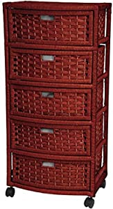 "Oriental Furniture 37"" Natural Fiber Chest of Drawers - Mahogany"