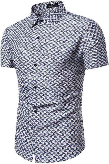 Sylar Hombre Camisa Manga Corta Slim Fit Tops Moda Personalidad Impreso Abotonar Camisa M-3XL, Adecuado para el Trabajo, el Ocio Diario.: Amazon.es: Ropa y accesorios