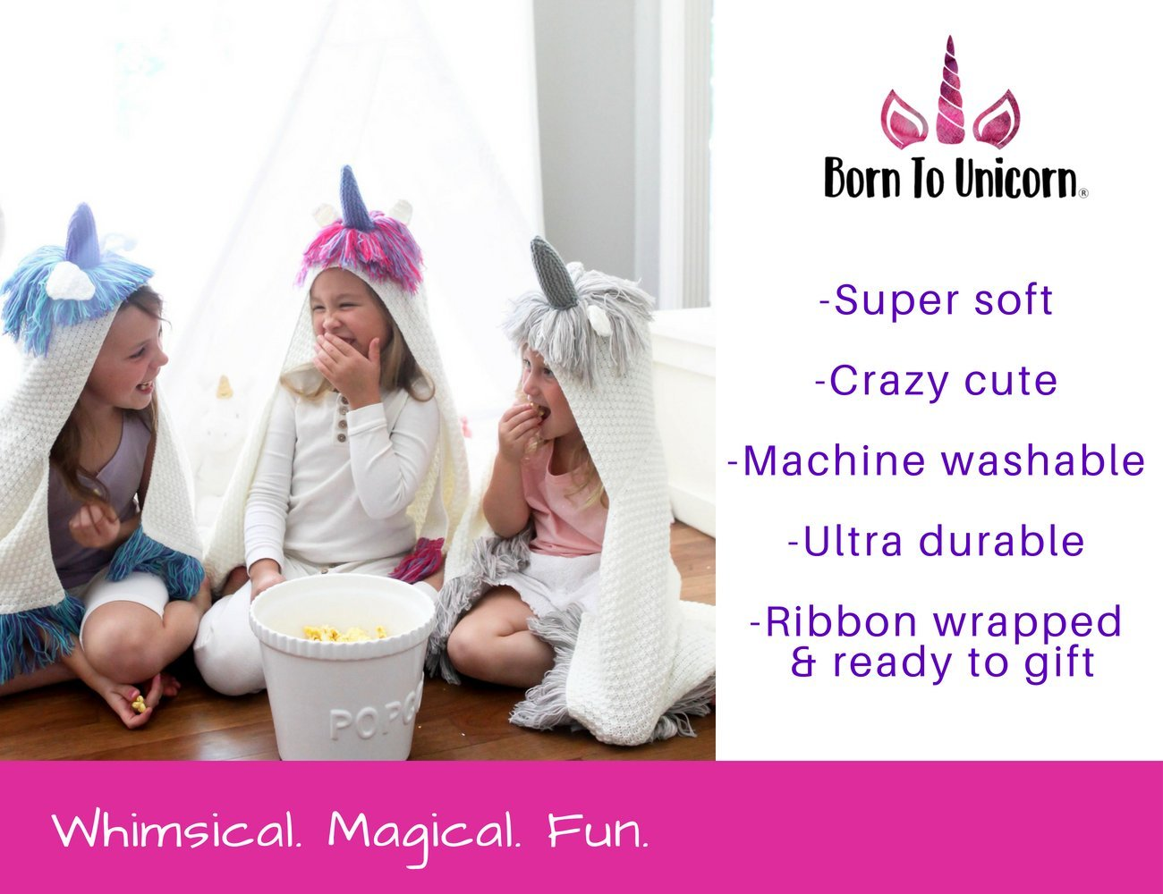 Born To Unicorn Blanket for Girls- Hooded, Kids Pink, Purple Wearable Crochet Knit w/Hood Throw Blankets Wrap, Toddlers Cute Plush Knitted Hoodie, Soft Kids Blanket Gift, Cozy Magic Cloak w/Hood by Born To Unicorn (Image #5)