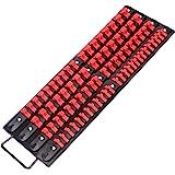 CASOMAN 80-Piece Portable Socket Organizer Tray, 1/4-Inch, 3/8-Inch, 1/2-Inch,Heavy Duty Socket Rail, Black Rails with…
