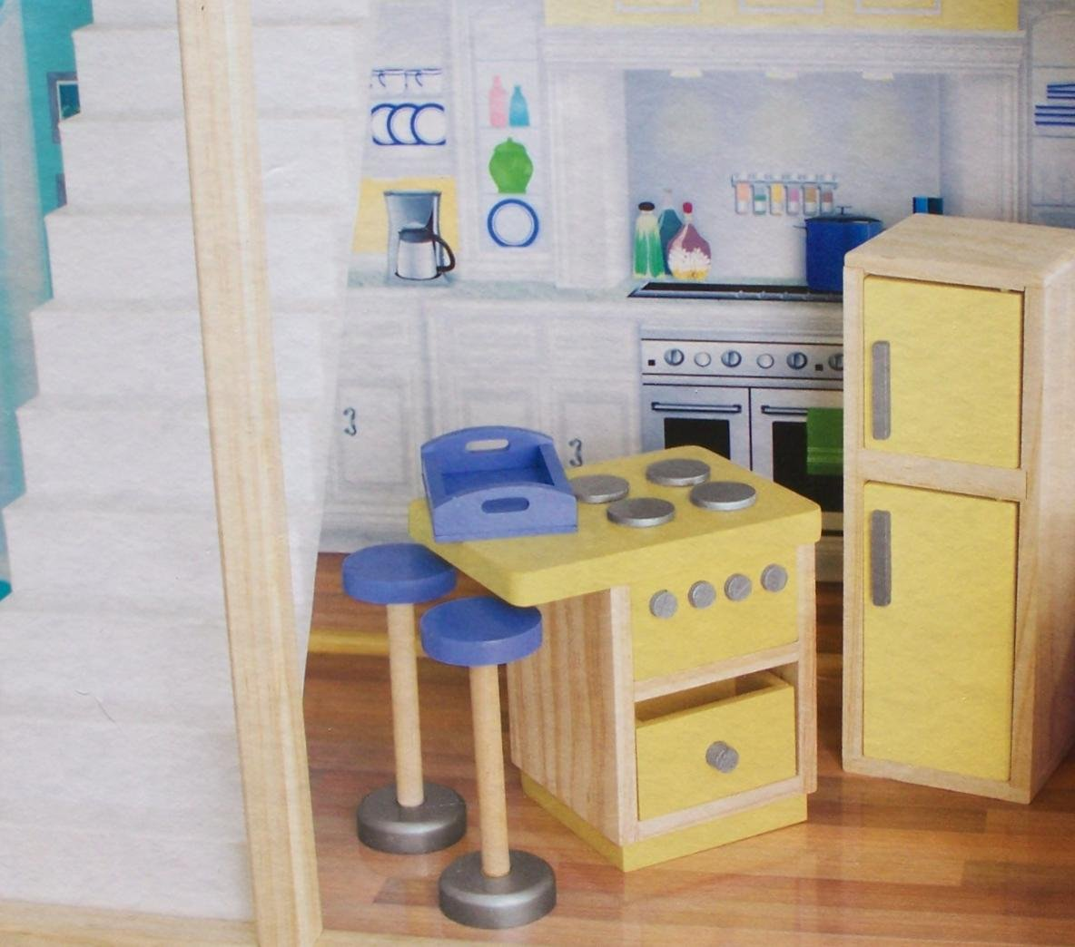 Amazon.com: Play Wonder Dollhouse Wood Kitchen Accessory 5 Piece Set: Toys  U0026 Games