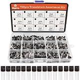 WayinTop 750pcs NPN PNP Power General Purpose Transistors Assortment Kit with Plastic Box, 2N222 2N2907 2N3904 2N3906…