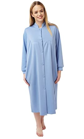 Marlon Ladies Dressing Gown Lightweight Quilted Button Front Long ...