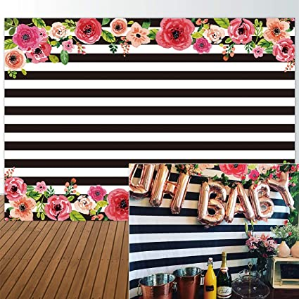 Allenjoy 7x5ft Black And White Stripe Graduction Backdrops Watercolor Pink Flower Banner Birthday Party Wedding Decoration Bridal Baby Shower Photo