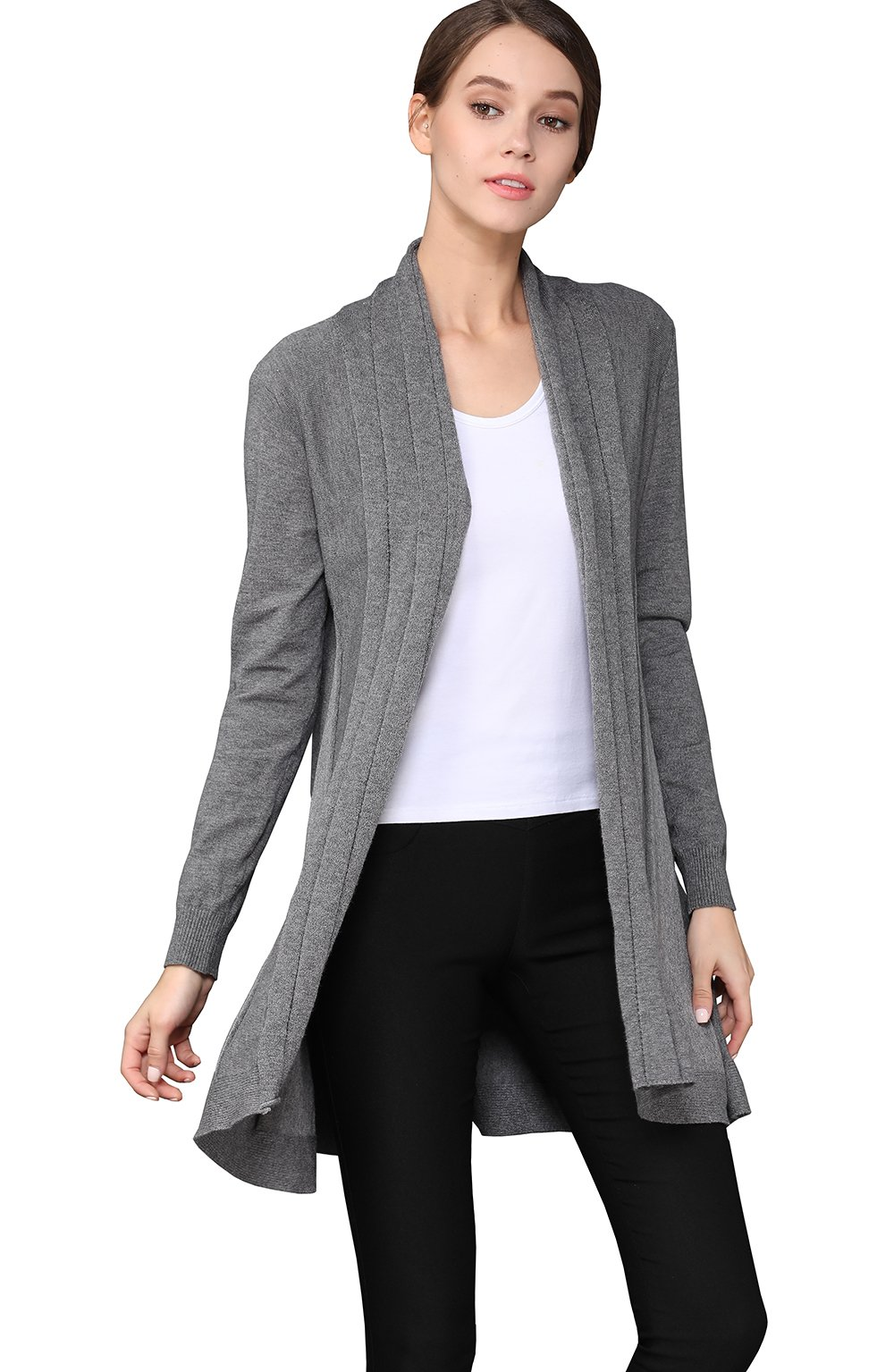 shengweiao Womens Long Sleeve Classic Knit Cardigan Sweater (Large, Dark Grey)