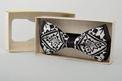 e7d08e5316f1 Image Unavailable. Image not available for. Color: Black Bow Tie With Cross  Stitch Embroidery