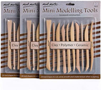NEW Mont Marte Mini Modelling Tools Boxwood 10pce  3pack FREE SHIPPING