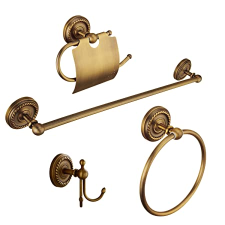 Kelelife Antique Brass Bathroom Accessories Set Wall Mounted Towel