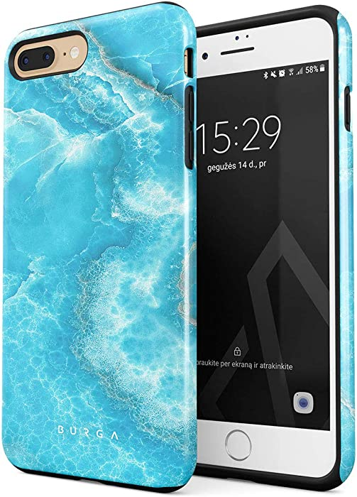 BURGA Phone Case Compatible With iPhone 7 PLUS / 8 PLUS - Sky Blue Teal Marble Turquoise Azure Ocean Cute Sea Waves Bright Stone Heavy Duty Shockproof Dual Layer Hard Shell + Silicone Protective Cover