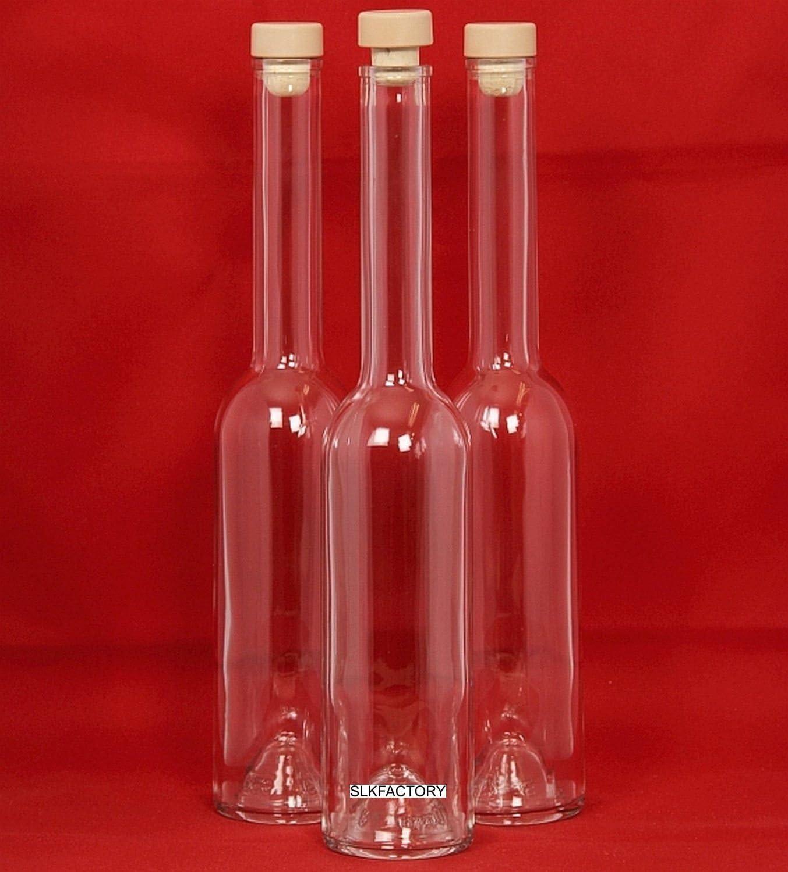 slkfactory 6Botellas vacías 500ml OPI de HGK Botellas vacías Botella de Cristal con Mango Corcho para Incluso SLK 0,5l L Botellas de Licor 500ml Chupito Botellas vinagre Botellas Aceite