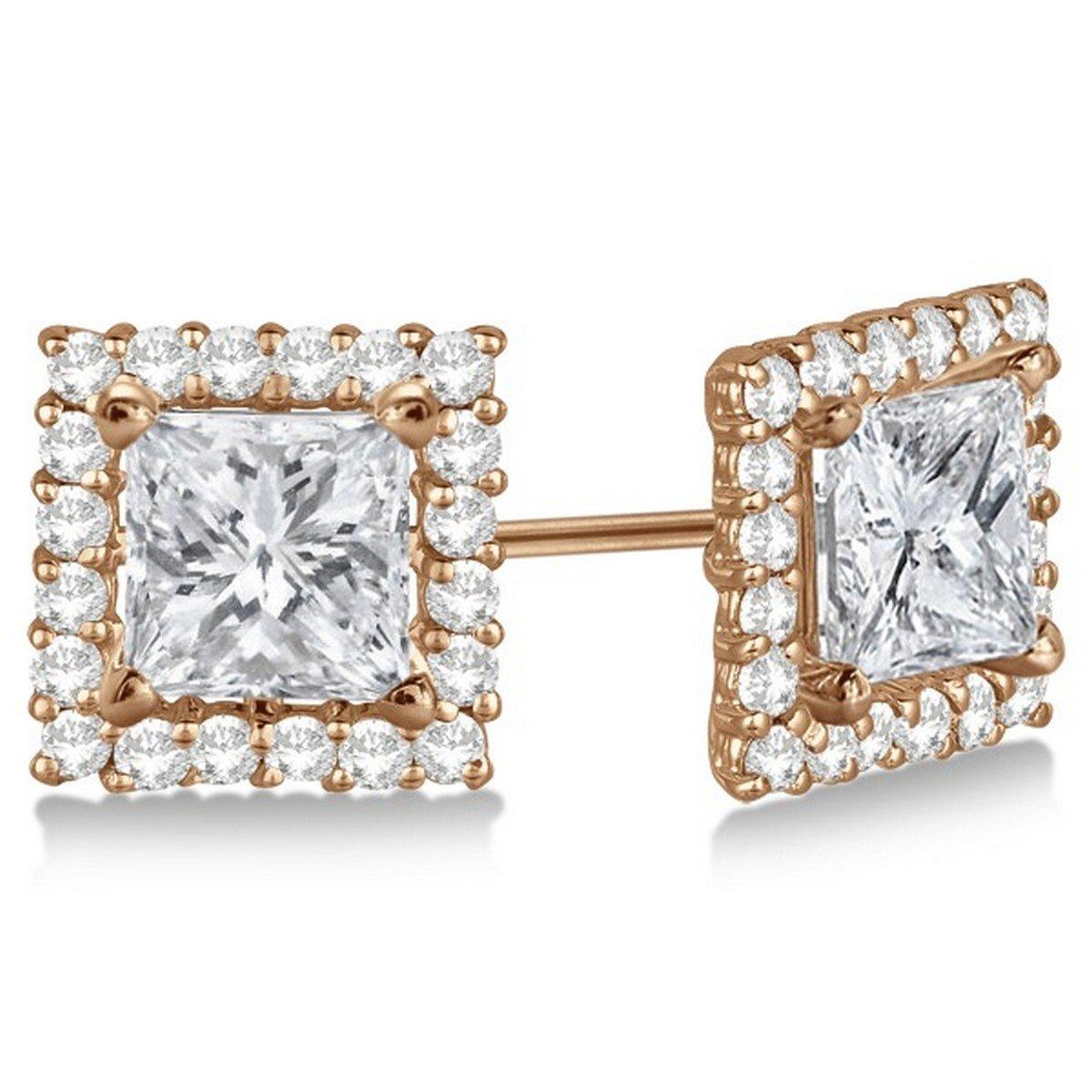 14k Gold 0.77 Carat Contemporary 7 Millimeter Womens Square Diamond Earring Jackets Pave-Set