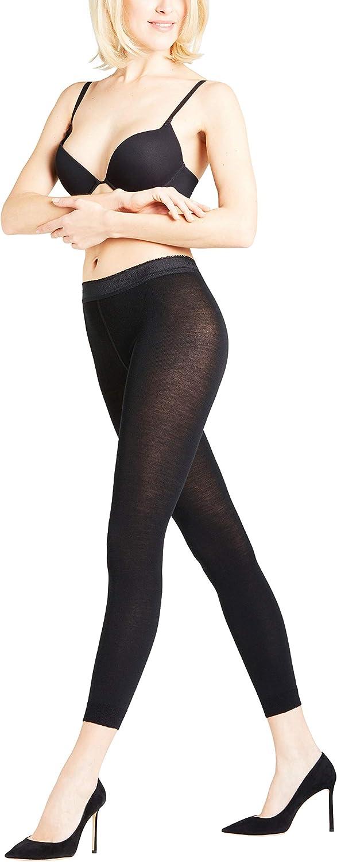 FALKE Womens Softmerino Leggings - Merino Wool/Cotton Blend, In Black, Navy Blue or Grey, S to L, 1 Pair