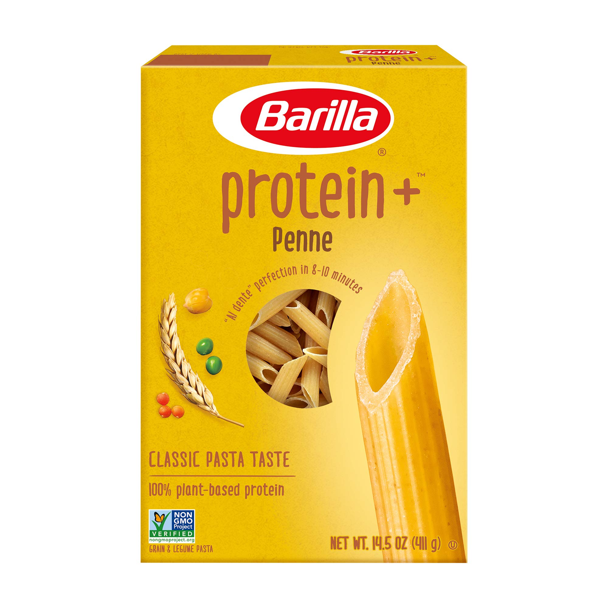 BARILLA Protein+ (Plus) Penne Pasta - Protein from Lentils, Chickpeas & Peas - Good Source of Plant-Based Protein - Protein Pasta - Non-GMO - Kosher Certified - 14.5 Ounce Box (7 Servings per Box)