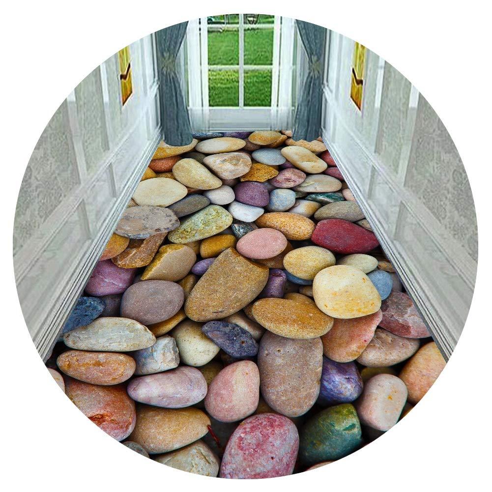HAIPENG 廊下敷きカーペット 色とりどり 石 廊下 ランナー ラグ 3D エントランス マット 滑り止め バック カーペット にとって 床 階段 廊下 通路 キッチン (色 : A, サイズ さいず : 1.6x6m) B07SD615MJ A 1.6x6m