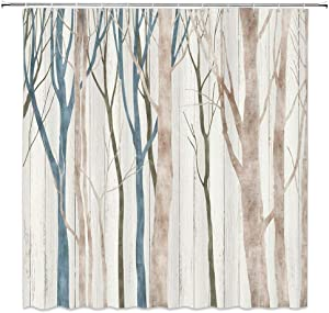 Abstract Tree Shower Curtain Vintage Autumn Art Birch Trunk Leafless Forest Animal Wild Seasonal Twigs Rustic Wooden Fall Nature Woodland Branches Fabric Bathroom Curtain Set 70x70 Inch with Hooks
