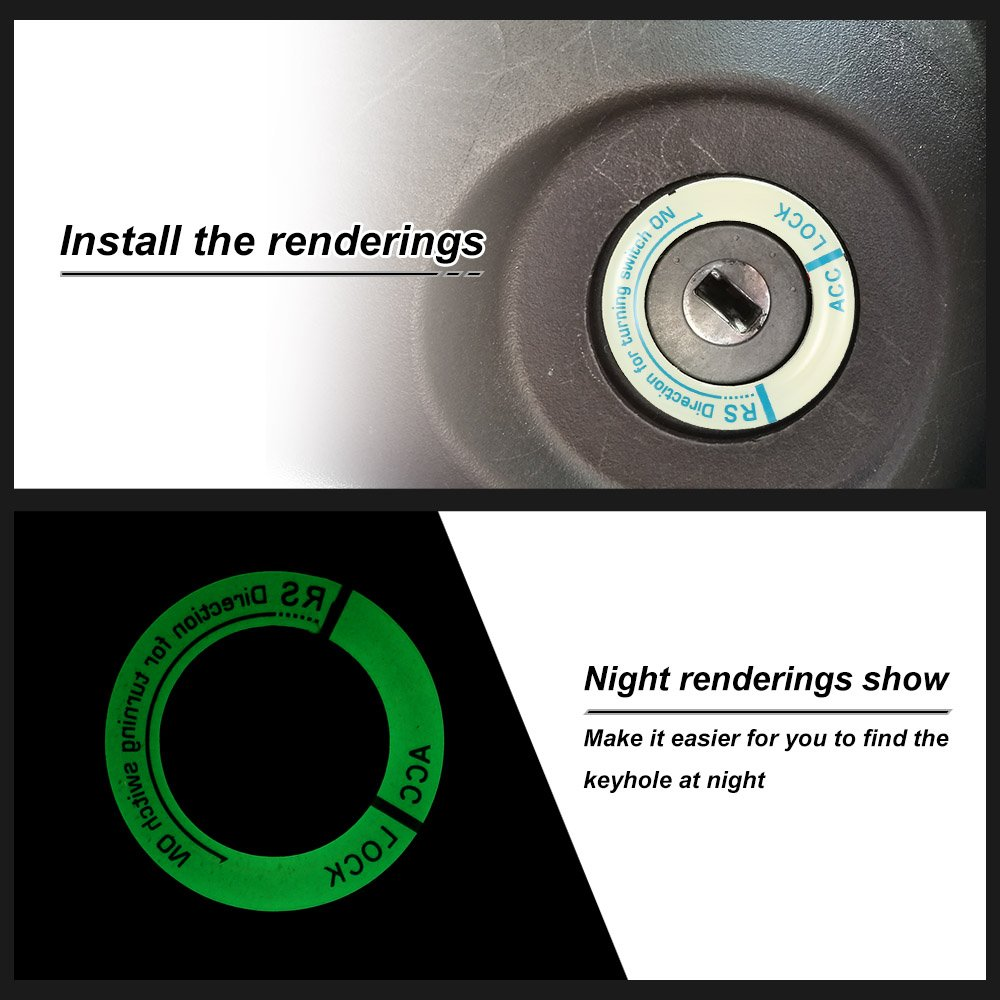 Car Ignition Switch Cover Luminous Key Ring Hole Cover Sticker