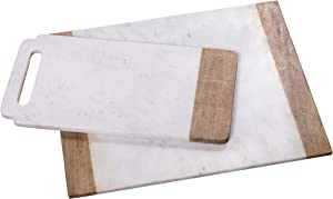 "Creative Home Natural White Marble with Mango Wood 18"" x 9"" Handled Board & 16"" x 20"" Pastry Board Set"