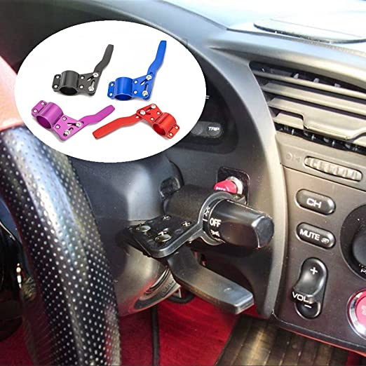 QIDIAN Aluminium Car Steering Wheel Turn Signal Lever Extension Rod Adjustment Turn Signal Lever Position Up Kit red